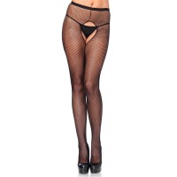 721404Q PLUS SIZE CROTCHLESS FISHNET PANTY HOSE PLUS SI BLK