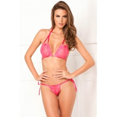 2PC Lace Tie-Up Bra & Thong Set Pink