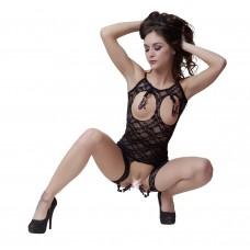 Bad Kitty - rövid csipkeoverall 4 csipesszel (fekete)